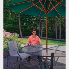 Catherine Christiano, Backyard, Old Lyme, 2016, Oil on canvas, 42 x 38 inches. Photo credit: Paul Mutino.