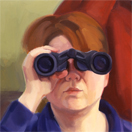 Catherine Christiano, Binoculars (detail) 2001, oil on linen, 34 x 30 inches. Photo credit: Rick Scanlan.