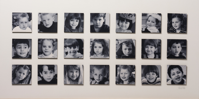 Catherine Christiano, Mrs. Varga's Children, 2003, photography with statement, panel is 19 3/16 x 38 3/16 inches plus statement. Photo credit: Paul Mutino. Collection of the Old Lyme Phoebe Griffin Noyes Library.
