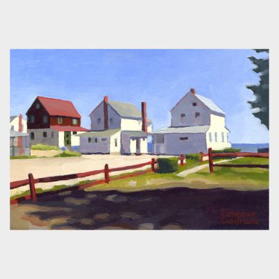 "Painting ""Three Cottages, Red Fence"""
