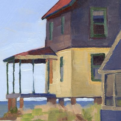 "Detail of painting ""Cottages, Hawk's Nest #8"""