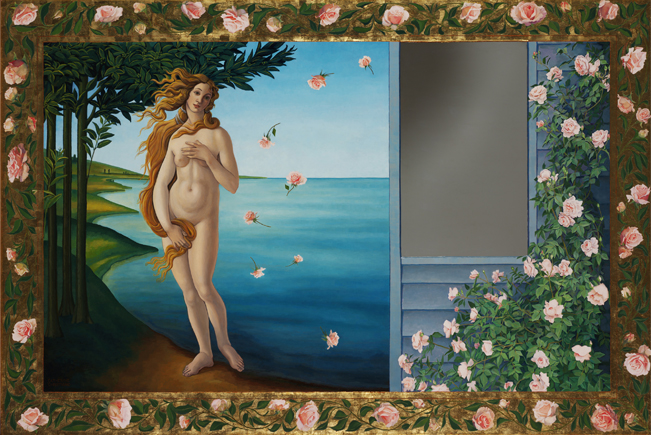 Catherine Christiano, Myth and Reality, oil and metal leaf on panel with mirror, 37 1/4 x 55 3/4 inches, 2007 - 2009. Photo credit: Paul Mutino. Collection of the artist.