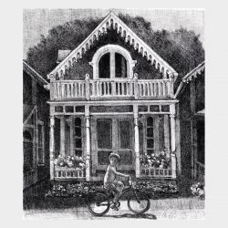 "Lithograph ""Gingerbread Cottage"""