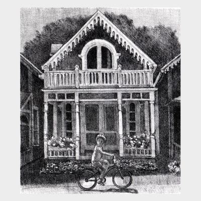 """Lithograph """"Gingerbread Cottage"""""""