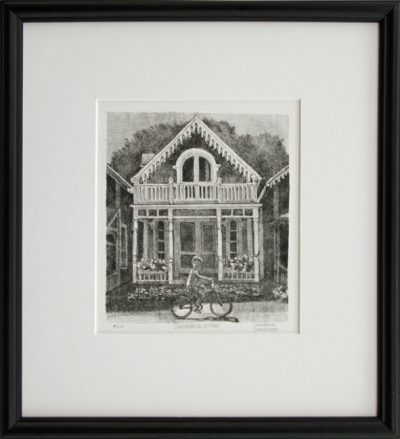 "Framed lithograph ""Gingerbread Cottage"""