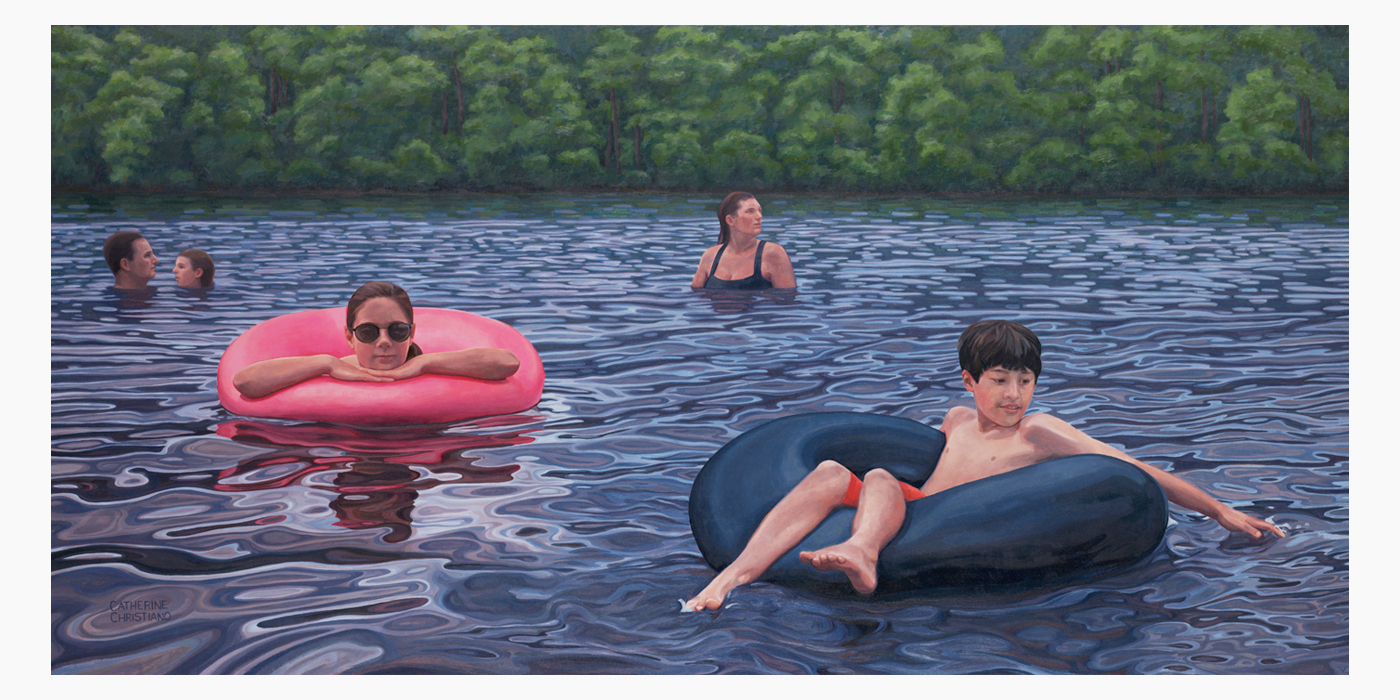 Catherine Christiano, Uncas Pond, 2012 - 14, Oil on Canvas, 36 x 72 inches. Photo credit: Paul Mutino.