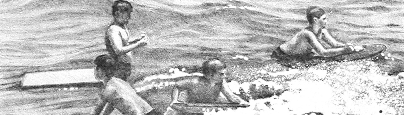 Catherine Christiano, White Sands Beach, 2012, stone lithograph on paper, 12 x 8 inches.
