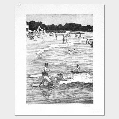 """Lithograph """"White Sands Beach"""""""