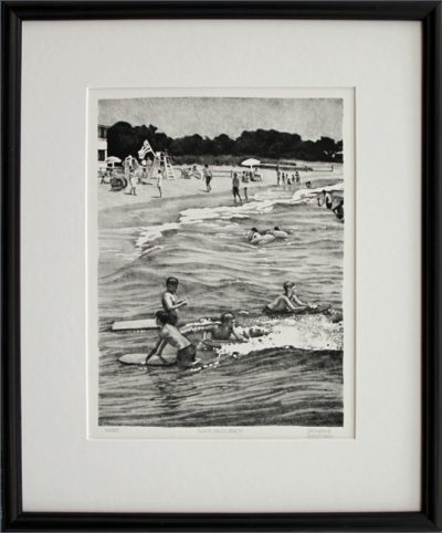 "Framed lithograph ""White Sands Beach"""