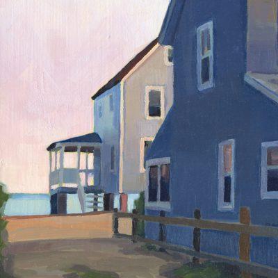 "Detail of painting ""Cottages, Hawk's Nest - Twilight"""