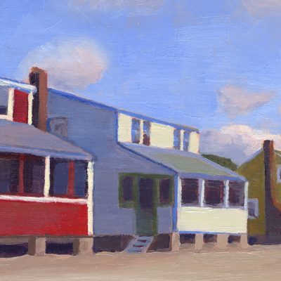 "Detail of painting ""Cottages, Hawk's Nest #16"""
