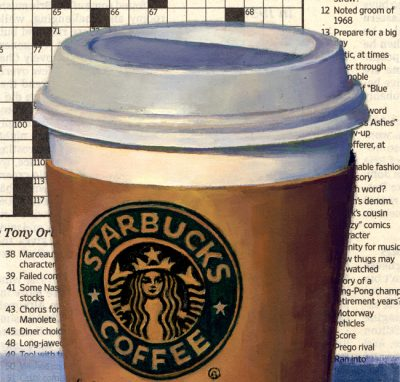 """Detail of painting """"Coffee and Crossword"""""""