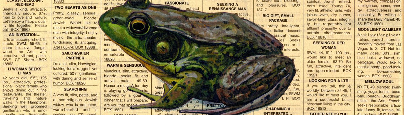 Catherine Christiano, Charming, 2014, limited edition reproduction of oil on newspaper on panel, 8  x 10 inches.