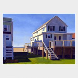 "Painting ""Cottages, White Sands Beach #5"""