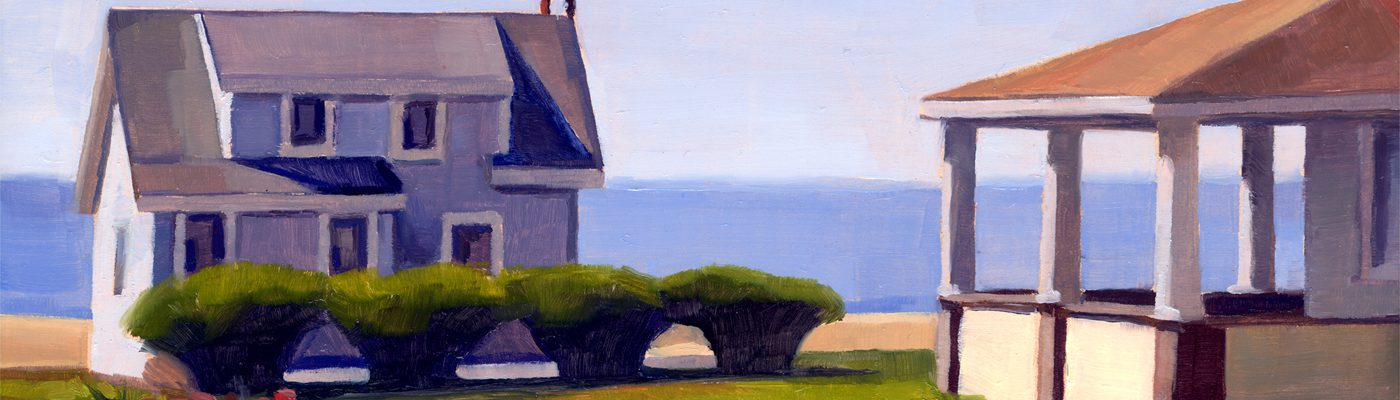 Catherine Christiano, Cottages, White Sands Beach #9, 2014, limited edition reproduction of oil on panel, 7 x 10 inches.