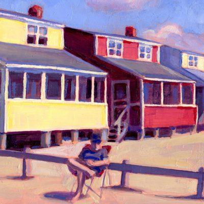 "Detail of painting ""Summer Rentals, Hawk's Nest"""