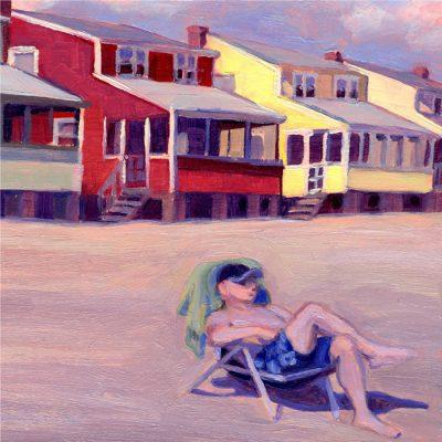 "Detail of painting ""Summer Rentals #2, Hawk's Nest"""