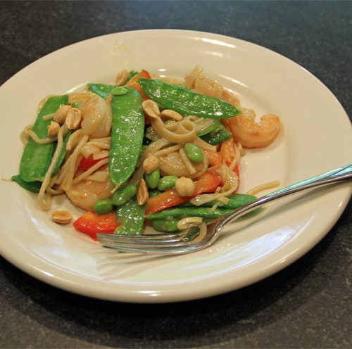 Edamame Shrimp Snow Pea Pasta Salad