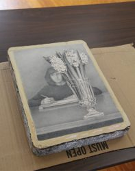 Catherine Christiano, Hyacinths, 2015, drawing on lithography stone.